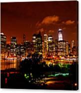 Manhattan Night Skyline Canvas Print