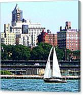Manhattan - Sailboat Against Manhatten Skyline Canvas Print