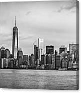 Manhattan Skyline Black And White Canvas Print