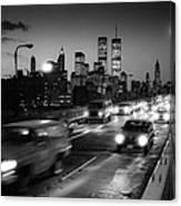 Manhattan Skyline Dusk 1980s Canvas Print