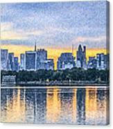 Manhattan Skyline From Central Park Reservoir Nyc Usa Canvas Print