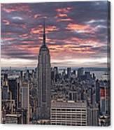 Manhattan Under A Red Sky Canvas Print
