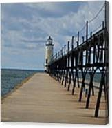 Manistee Lighthouse And Walkway Canvas Print