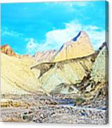 Manly Beacon From Golden Canyon In Death Valley National Park-california Canvas Print