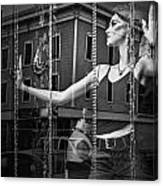 Mannequin In Storefront Shop Window In Black And White Canvas Print