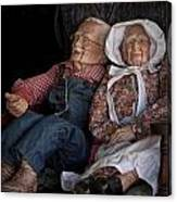 Mannequin Old Couple In Shop Window Display Color Photo Canvas Print