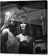Mannequins In Storefront Window Display With Pizza Sign Canvas Print