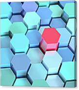 Many Blue Hexagons, Various Heights Canvas Print