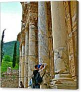 Many Photographers At Library Of Celsus-ephesus Canvas Print