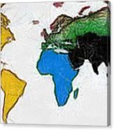 Map Digital Art World Canvas Print