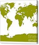 Map In Olive Green Canvas Print