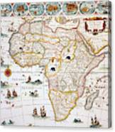Map Of Africa, 1630 Canvas Print