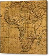 Map Of Africa Circa 1829 On Worn Canvas Canvas Print