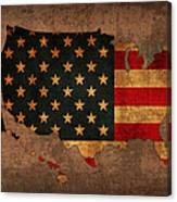 Map Of America United States Usa With Flag Art On Distressed Worn Canvas Canvas Print