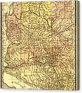 Map Of Arizona 1883 Canvas Print