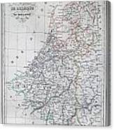 Map Of Belgium And Holland Or The Netherlands Canvas Print