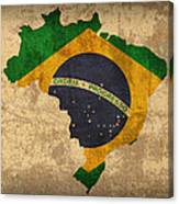 Map Of Brazil With Flag Art On Distressed Worn Canvas Canvas Print