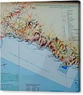 Map Of Cinque Terre Canvas Print