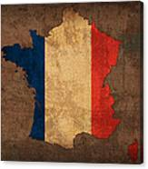 Map Of France With Flag Art On Distressed Worn Canvas Canvas Print