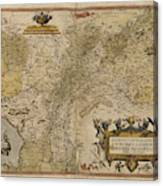 Map Of Gelderland And Cleves Canvas Print