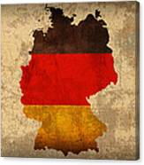Map Of Germany With Flag Art On Distressed Worn Canvas Canvas Print