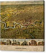 Map Of Houston Texas Circa 1891 On Worn Distressed Canvas Canvas Print