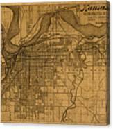 Map Of Kansas City Missouri Vintage Old Street Cartography On Worn Distressed Canvas Canvas Print