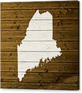 Map Of Maine State Outline White Distressed Paint On Reclaimed Wood Planks. Canvas Print