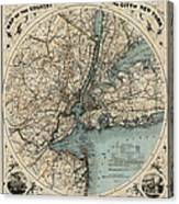 Map Of New York 1891 Canvas Print
