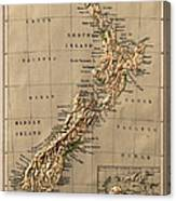 Map Of New Zealand 1880 Canvas Print