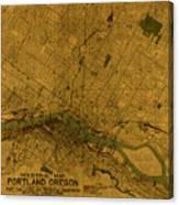 Map Of Portland Oregon City Street Schematic Cartography Circa 1924 On Worn Parchment  Canvas Print