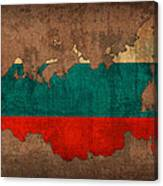 Map Of Russia With Flag Art On Distressed Worn Canvas Canvas Print