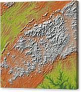 Map Of Southern Appalachia Canvas Print