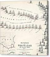 Map Of The Battle Of Trafalgar Canvas Print