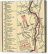 Map Of The Lone Star Route 1922 Canvas Print