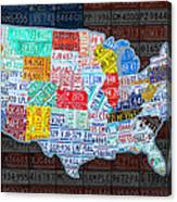 Map Of The United States In Vintage License Plates On American Flag Canvas Print