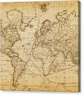 Map Of The World 1800 Canvas Print