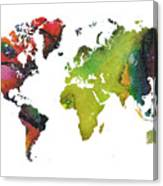 Map Of The World Red Green Canvas Print