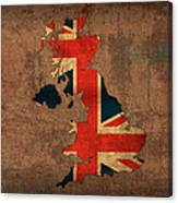 Map Of United Kingdom With Flag Art On Distressed Worn Canvas Canvas Print