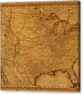 Map Of United States Of America Vintage Schematic Cartography Circa 1855 On Worn Parchment  Canvas Print