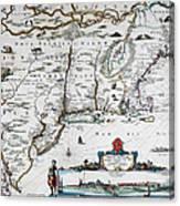 Map Of Virginia - 1665 Canvas Print