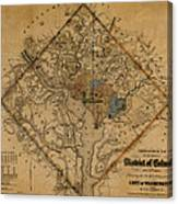 Map Of Washington 1862 Canvas Print