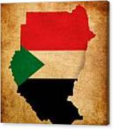 Map Outline Of Sudan With Flag Grunge Paper Effect Canvas Print