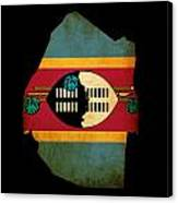 Map Outline Of Swaziland With Flag Grunge Paper Effect Canvas Print
