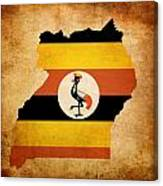 Map Outline Of Uganda With Flag Grunge Paper Effect Canvas Print