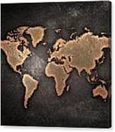 Map  The Continents  Grunge Canvas Print