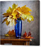 Maple Leaves In Blue Vase  Canvas Print