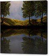 Maples In Moonlight Reflections Canvas Print