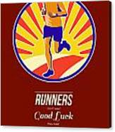 Marathon Runner Retro Poster Canvas Print