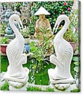 Marble Stork Sculptures In Xuat Anh-vietnam Canvas Print